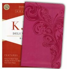 The Holy Bible: King James Version Deluxe Gift Bible, Pink, Leathertouch