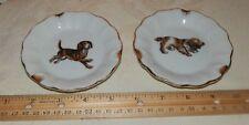 Vintage Cocker Spaniel & Beagle Dog Ashtrays *Trinket Trays w/gold guild Japan