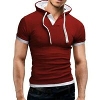 Slim Men's Hooded T-shirt Hoodies Muscle Tee Short Fit Sleeve Tops Shirts Casual