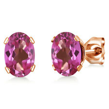 1.60 Ct Oval 7x5mm Pink Mystic Topaz 18K Rose Gold Plated Silver Stud Earrings