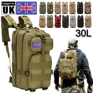 30L Hiking Camping Military Backpack Rucksack Tactical Trekking Bag Outdoor Arm
