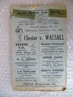 1958 CHESTER v WALSALL, 17th Sept (League Division 4)