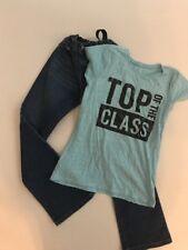 Childrens Place Girls Dark Wash Blue Jeans Sz 10 & Graphic T Shirt Size 10/12
