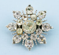 1750 Brooch Silver Paste Stone Flower Star Antique Georgian English Diamond Cut