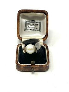 Lovely Heavy Vintage Sterling Silver 925 Cultured Pearl Studio Ring 10g #1184