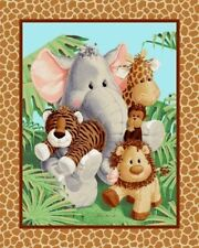JUNGLE BABIES FABRIC PANEL  PATTY REED  QUILT TOP WALL HANGING  FREE US SHIPPING