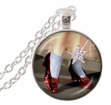 NEW Silver Plated Round Cabochon Wizard Of Oz Ruby Slippers Necklace