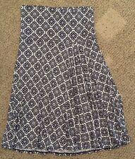Max Studio Womens Size Medium M Black Print Flared Skirt W/ Pleats Rayon Stretch