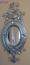 """Mexican Handmade Punched Tin Nido Mirror with Birds Nest Leaves Flowers 27""""x12"""""""