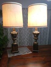 Vintage Frederick Cooper Chicago Brass Pedestal Urn Lamp Pair w/ Original Shades