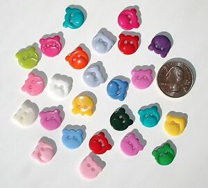 25 Teddy Bear Heads Resin Buttons Variety Mix Colors 2-hole sew on