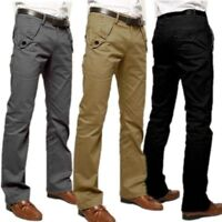 Men's Khaki Pants Formal Office Worker Cotton Pocket Long Straight Trousers Male