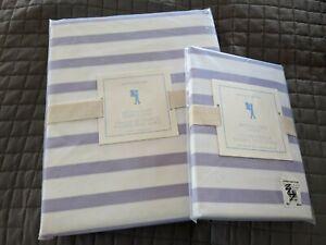 POTTERY BARN Breton Stripe Twin Duvet Cover & Sham Lavender/White NWT