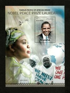 Uganda 2013 - Nobel Peace Prize, Obama and Gbowee, Famous - Souvenir Sheet - MNH