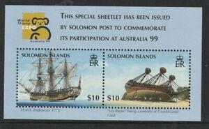 SOLOMON ISL  19 MARCH 1999 SHIP AUSTRALIA '99 MINIATURE SHEET MNH
