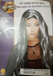 "bnib Halloween Wig Black White Long 24"" New rubies washable one size fancy dress"
