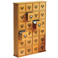 Library 456 CD Wood Storage Cabinet - 24 Drawer Media Tower Organizer- Plain Oak