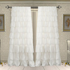 42x108 Plain Solid Rod pocket White Ruffle Cotton door Curtain Panels 2 Piece