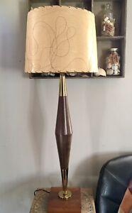 Mid Century Modern Wood Brass Table Lamp Original Threaded Fiberglass Shade MCM