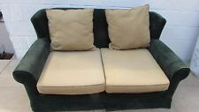Emerald Green 2 Seater Sofa with Olive Green and Yellow Twig Pattern Cushions