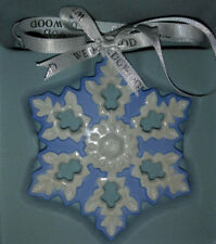 Wedgwood Blue & White Luster Snowflake Boxed Collection w Ribbon & New in Box