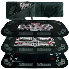 Casino 3-in-1 Tri-Fold Black Felt Folding Poker, Craps or Roulette Table Top