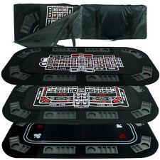 Casino 3-in-1 Tri-Fold Black Felt Folding Poker, Craps or Roulette Table Top