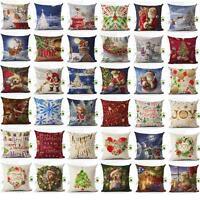 Cotton Linen Christmas Xmas Sofa Waist Cushion Cover Car Pillow Case Cover Gift