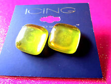 Yellow Square Stud Earrings 3/4 Inch