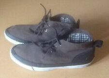 Men's Vintage Ben Sherman's Brown Canvass Leather Trim Lace Up Shoes UK Size 10