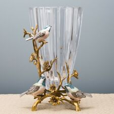 ORNATE GLASS PORCELAIN AND BRONZE Ornate VASE BIRDS BRANCHES
