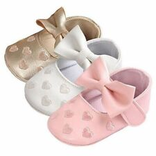 Soft Slip-on Infant Baby Girls Walking Shoes Heart-Shaped Pattern Butterfly-knot