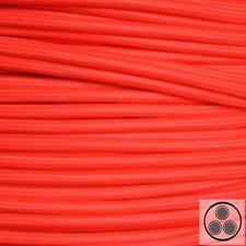 Textilkabel Stoffkabel Lampen-Kabel Stromkabel Elektrokabel Neon Rot 3adrig