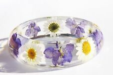 Handmade Real Flower Botanical Garden Resin Bangle Bracelet.{G-42}