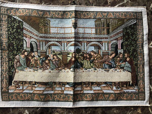 """Jesus The Last Supper wall Tapestry Museum Vatican 22.5 X 15 """""""
