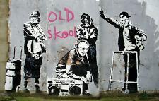 "Banksy, Old Skool, Graffiti Art, Giclee Canvas Print, 10""x16"""