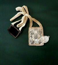 Scapolare ex voto in lana e stoffa ricamato a mano e medaglietta alluminio