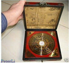 Chinese Feng Shui compass with dragon wooden box