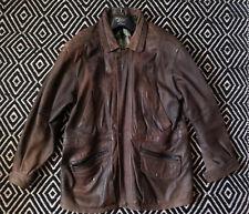 Chaqueta de cuero marrón de hombre de talla mediana
