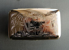 Animal Jungle German Silver Stash Jewel Tobacco Trinket Box G16 Made in Germany