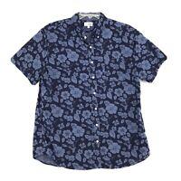 Sonoma Shirt Mens Size XL Blue Floral Print Short Sleeve Button Front Cotton