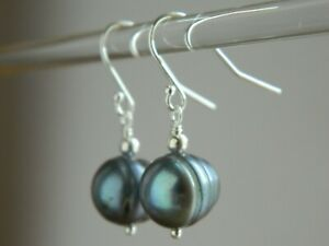 Large Peacock Black Baroque Freshwater Pearls & Solid Sterling Silver Earrings