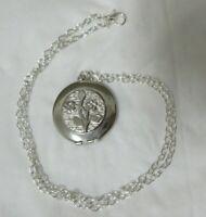 Vintage Silver Tone Flower Locket Necklace