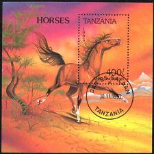 (Ref-10878) Tanzania 1993 Horses Miniature Sheet  Used (CTO)