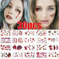 30pcs Halloween Fancy Dress Make Up Scars Wounds Cuts Fake Blood Horror Tattoos