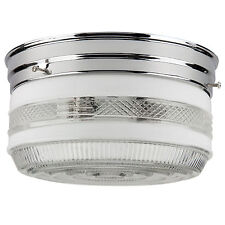 """NEW 8"""" Drum Ceiling Fixture Chrome Semi-Frosted Glass FREE SHIPPING from US !"""