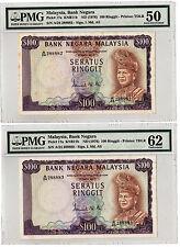 MALAYSIA RM100 3RD 2PCS LAST PREFIX LUCK NO. 288882 83 PMG50 62 UNC