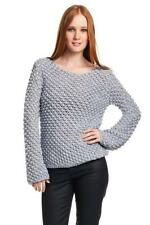 AIKO Women's Amelie Popcorn Stick Sheet Cotton Sweater Natural Baby Blue NEW