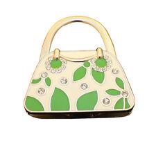 Sac à main Porte-sac Crochet dans Boîte Cadeau, acier inoxydable, cubique, feuilles vertes