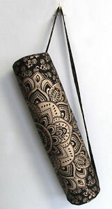 """Black Golden Yoga Mat Carrier Bag Mandala Large Bags With Shoulder Strap Indian"""""""